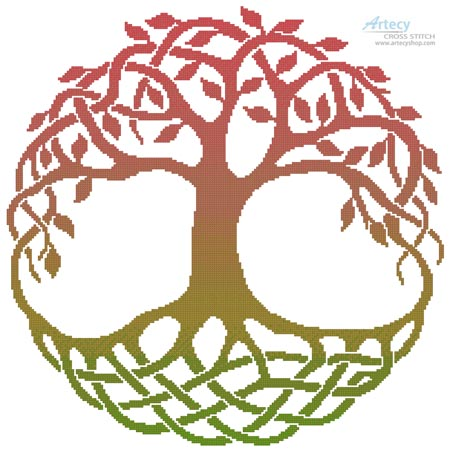 Celtic Tree of Life 4 - Cross Stitch Chart - Click Image to Close