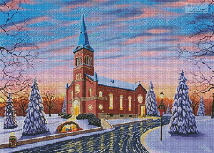 Christmas at our Lady of Victory - Cross Stitch Chart - Click Image to Close