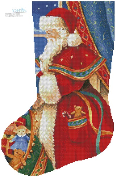 Christmas Delivery Stocking (Left) - Cross Stitch Chart - Click Image to Close