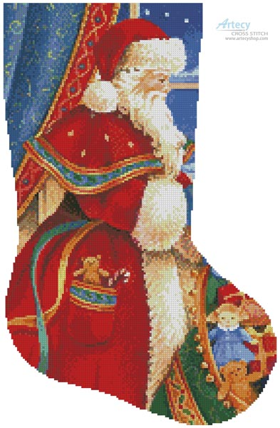 Christmas Delivery Stocking (Right) - Cross Stitch Chart - Click Image to Close