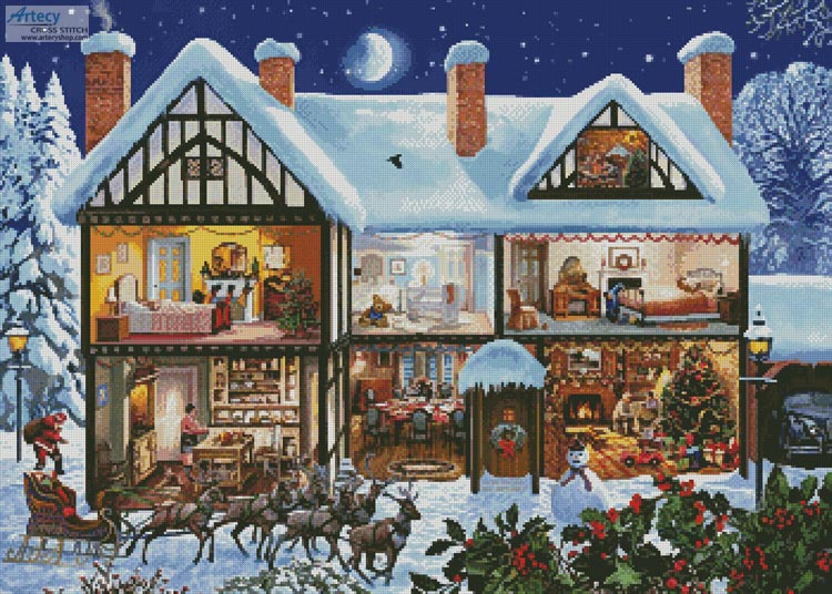 Christmas House 3 - Cross Stitch Chart - Click Image to Close