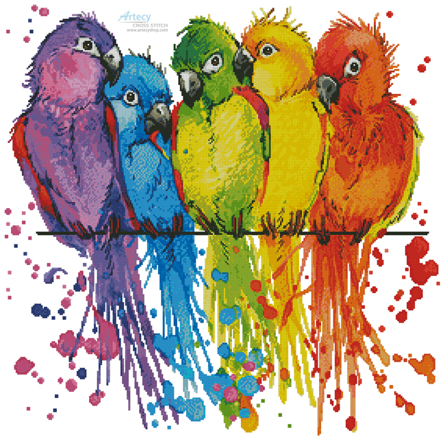 Colourful Birds - Cross Stitch Chart - Click Image to Close