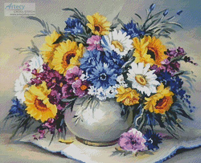 Colourful Bouquet - Cross Stitch Chart - Click Image to Close
