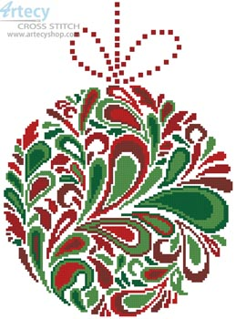 Colourful Christmas Bauble 3 - Cross Stitch Chart - Click Image to Close