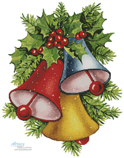 Colourful Christmas Bells - (Facebook Group) Cross Stitch Chart - Click Image to Close