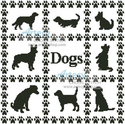 Dog Sampler - Cross Stitch Chart - Click Image to Close