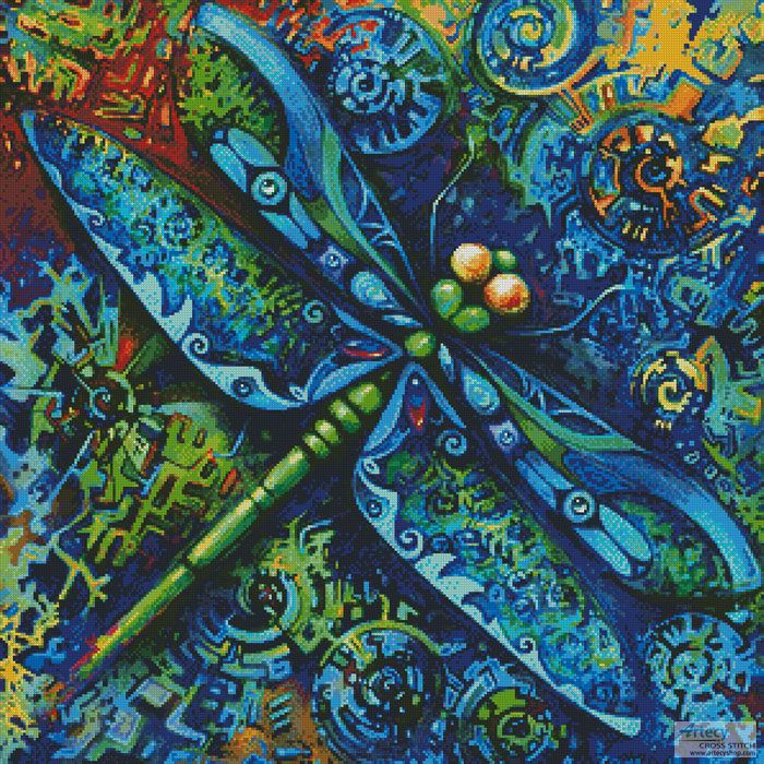 Dragonfly Painting - Cross Stitch Chart - Click Image to Close