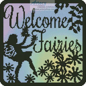 Fairy Silhouette Square 1 - Cross Stitch Chart - Click Image to Close
