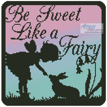 Fairy Silhouette Square 6 - Cross Stitch Chart - Click Image to Close