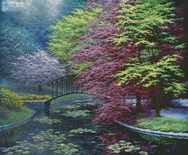 Gardens of the Villa Melzi - Cross Stitch Chart - Click Image to Close