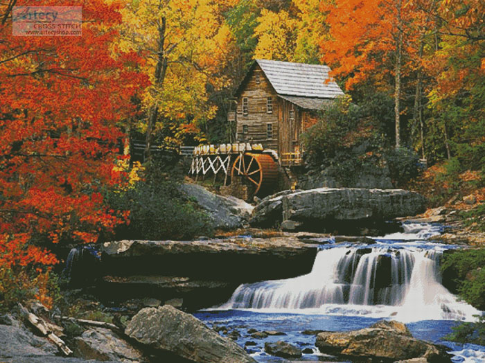 Glade Creek Grist Mill (Large) - Cross Stitch Chart - Click Image to Close