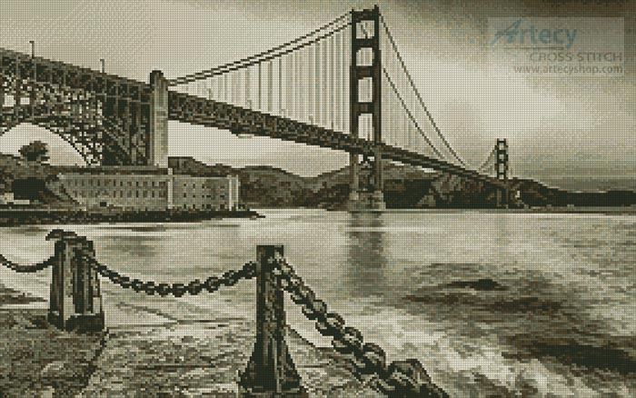 Golden Gate (Sepia) - Cross Stitch Chart - Click Image to Close