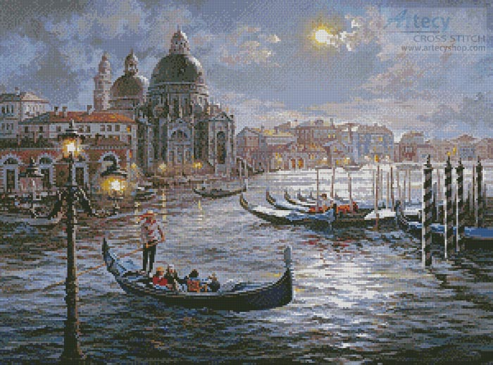 Grand Canal Venice Painting - Cross Stitch Chart - Click Image to Close