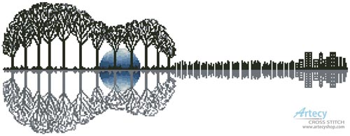 Guitar Landscape Moonlight - Cross Stitch Chart - Click Image to Close