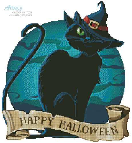 Halloween Cat - Cross Stitch Chart - Click Image to Close
