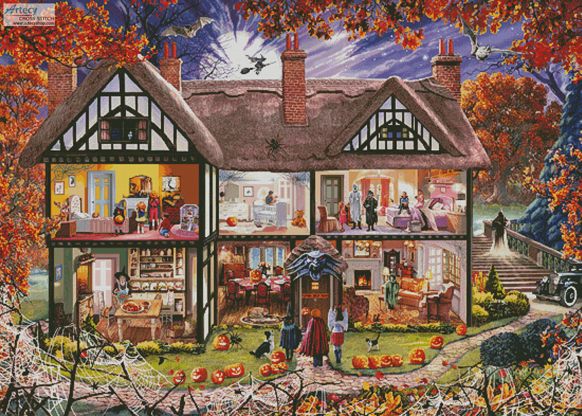 Halloween House Painting (Large) - Cross Stitch Chart - Click Image to Close