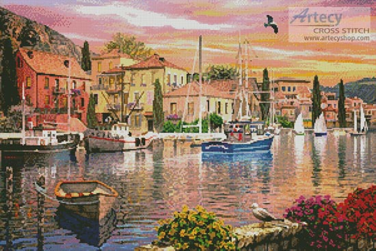Harbour Sunset - Cross Stitch Chart - Click Image to Close