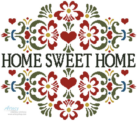 Home Sweet Home Floral - Cross Stitch Chart - Click Image to Close