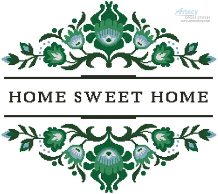 Home Sweet Home Polish Folk Art Design 4 - Cross Stitch Chart - Click Image to Close