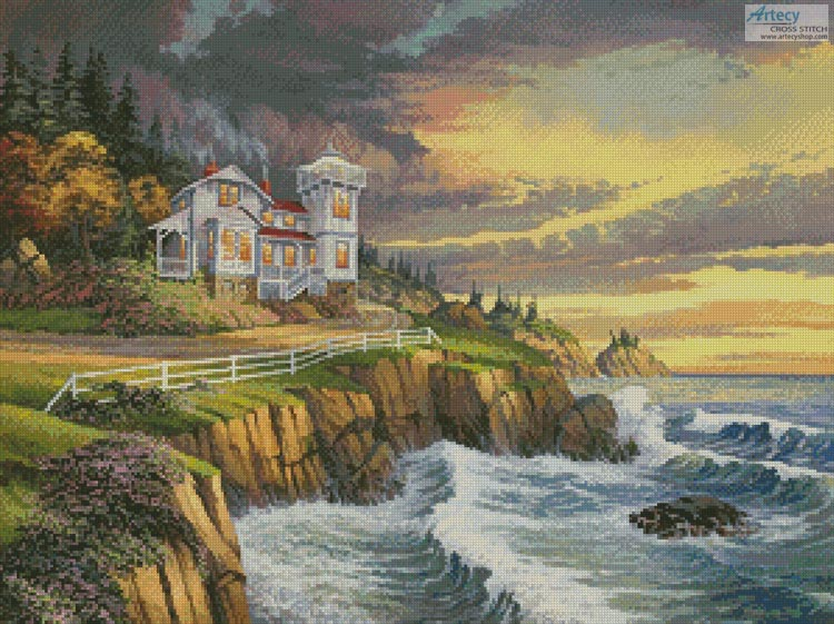 Hopkins Point Lighthouse - Cross Stitch Chart - Click Image to Close
