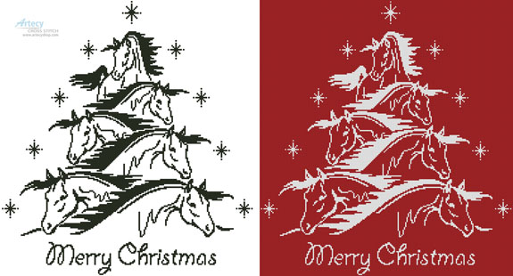 Horse Christmas Tree 2 - Cross Stitch Chart - Click Image to Close