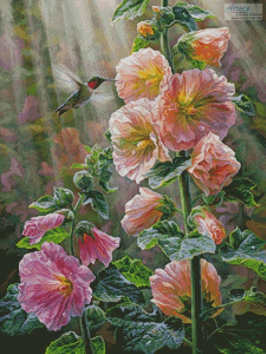 Ruby Throated Hummingbird & Hollyhocks - Cross Stitch Chart - Click Image to Close