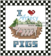 I Love Pigs - Cross Stitch Chart - Click Image to Close
