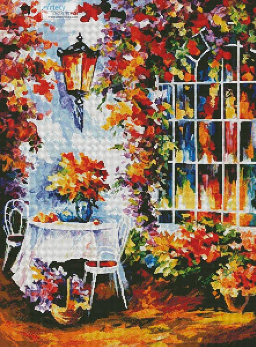 In the Garden Painting - Cross Stitch Chart - Click Image to Close