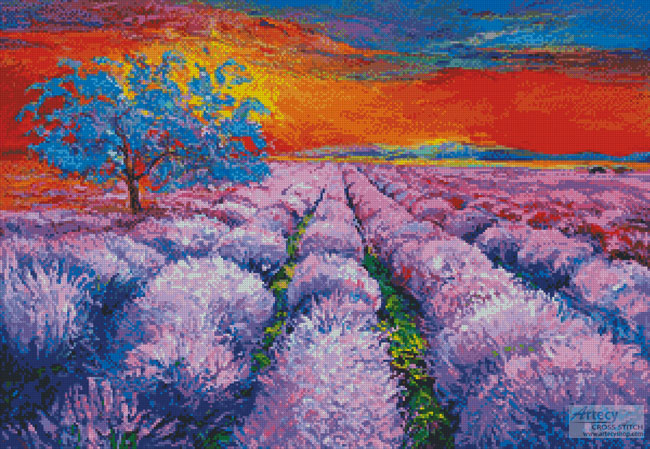 Lavender Field at Sunset - Cross Stitch Chart - Click Image to Close