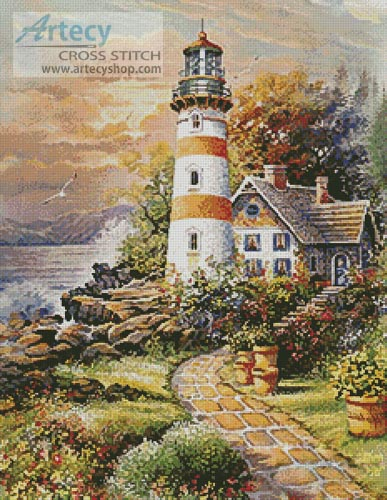 Lighthouse Cottage - Cross Stitch Chart - Click Image to Close