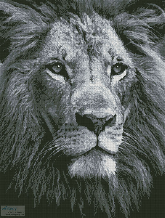 Lion Close up (Black and White) - Cross Stitch Chart - Click Image to Close