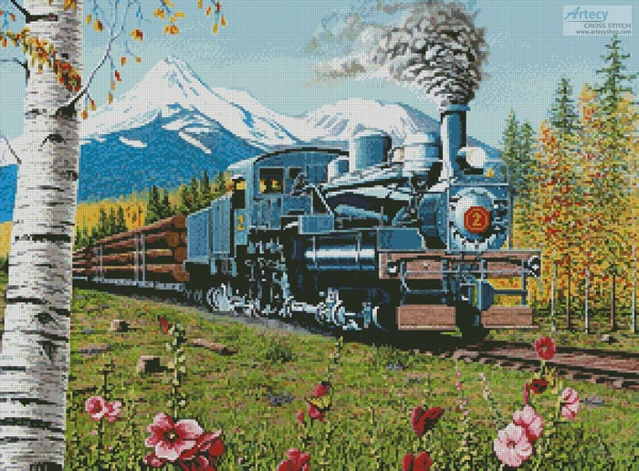 Lumbering Along Shasta County - Cross Stitch Chart - Click Image to Close