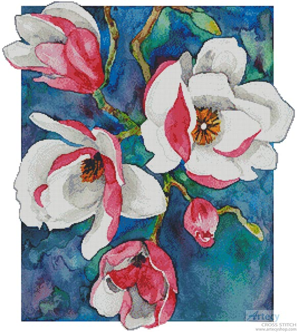 Magnificent Magnolias 2 - Cross Stitch Chart - Click Image to Close