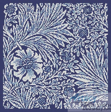 Marigold Blue - Cross Stitch Chart - Click Image to Close