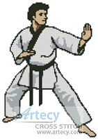 Martial Arts Boy - Cross Stitch Chart - Click Image to Close