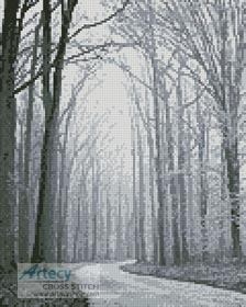 Mini Black and White Road through Trees - Cross Stitch Chart - Click Image to Close