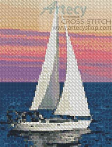 Mini Sailing at Sunset - Cross Stitch Chart - Click Image to Close