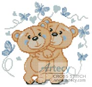 Mini Teddies in Love (Blue) - Cross Stitch Chart - Click Image to Close