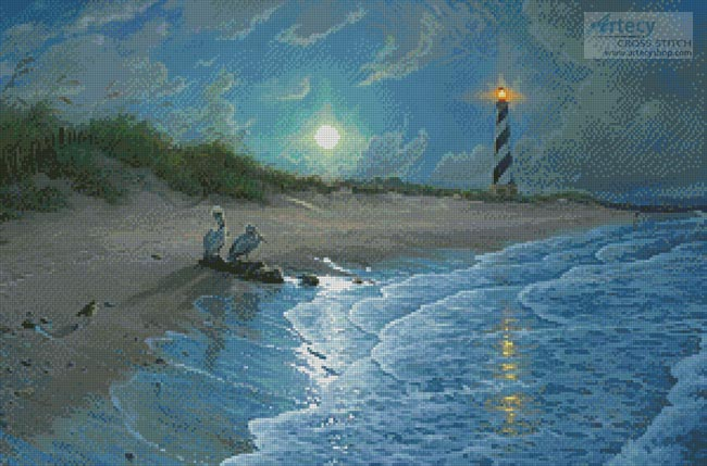 Moonlit Cove - Cross Stitch Chart - Click Image to Close