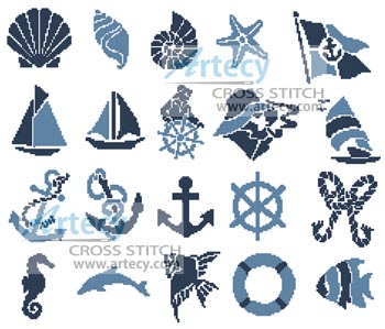 Nautical Motifs - Cross Stitch Chart - Click Image to Close
