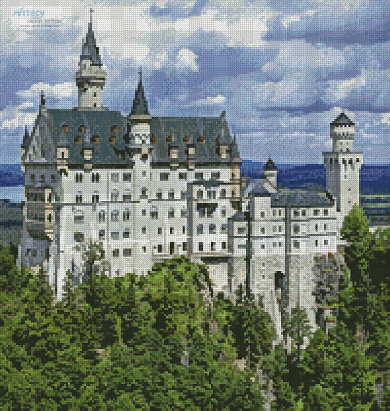 Neuschwanstein Castle 2 (Crop) - Cross Stitch Chart - Click Image to Close