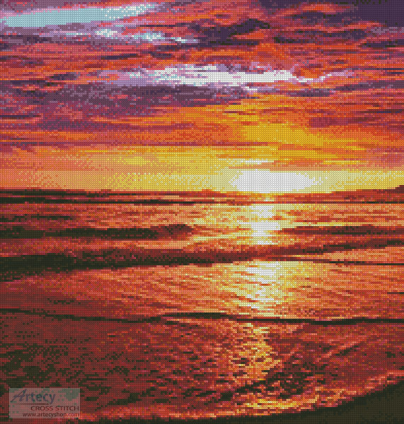 Ocean Sunrise - Cross Stitch Chart - Click Image to Close