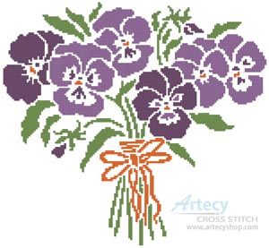 Pansy Nosegay - Cross Stitch Chart - Click Image to Close