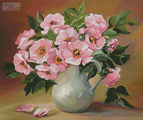Pink Bouquet - Cross Stitch Chart - Click Image to Close