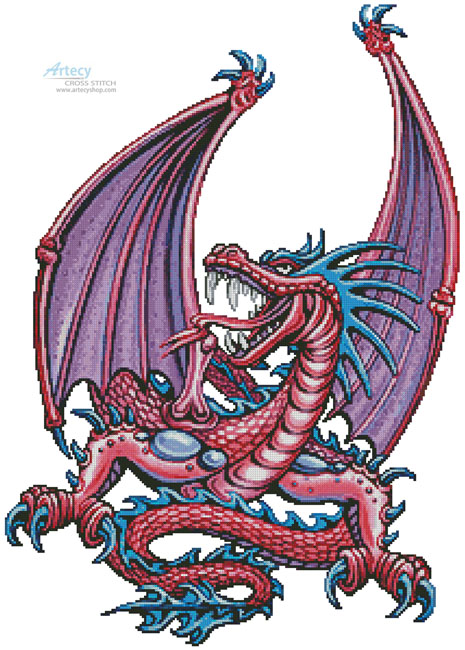 Pink Dragon - Cross Stitch Chart - Click Image to Close
