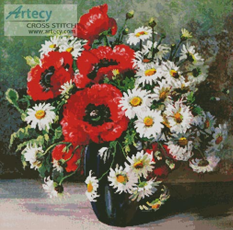 Poppies and Daisies - Cross Stitch Chart - Click Image to Close