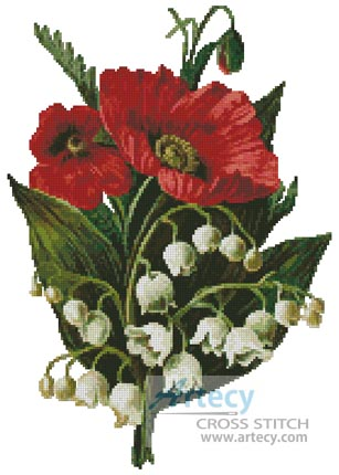 Poppies and Lily of the Valley - Cross Stitch Chart - Click Image to Close