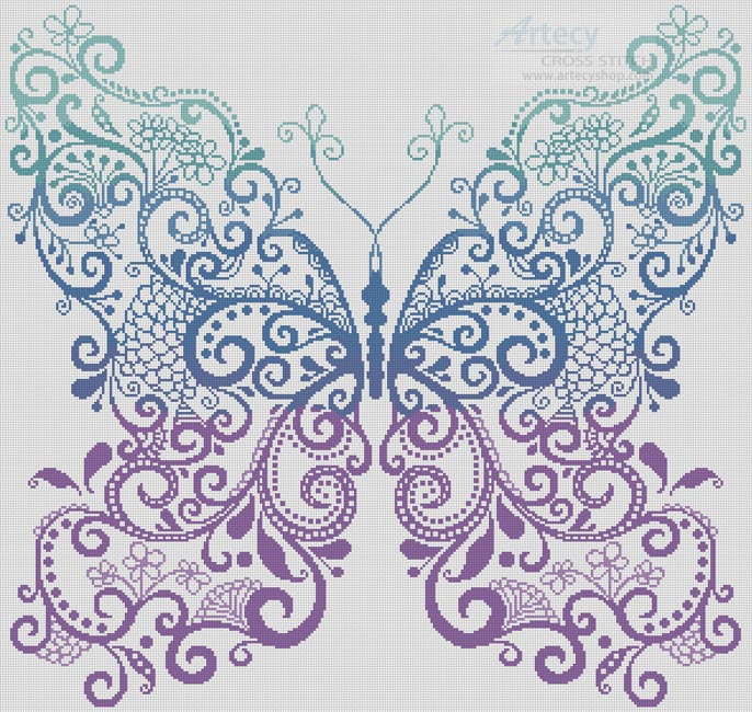 Purple Blue Green Butterfly - Cross Stitch Chart - Click Image to Close
