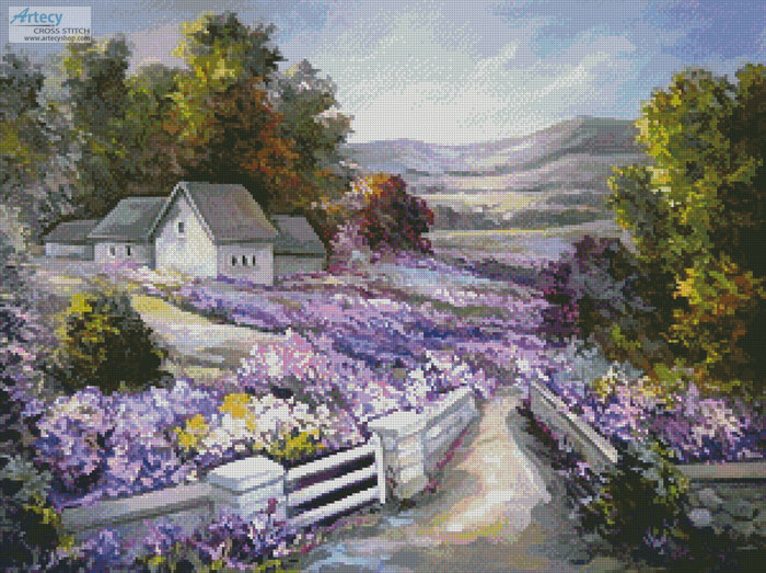 Purple Spring Landscape - Cross Stitch Chart - Click Image to Close