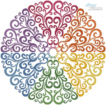 Rainbow Circle - Cross Stitch Chart - Click Image to Close